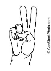 Male hand sign show sign victory or peace. Vector black vintage illustration