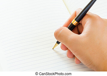 male hand signing a contract.