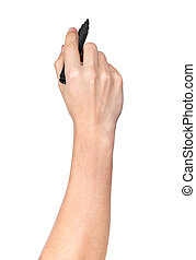 male hand with black marker drawing isolated on white background