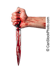 Male hand with bloody knife on white background