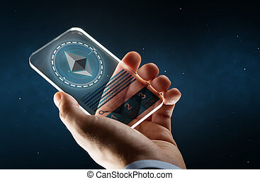 male hand with ethereum on smartphone screen - business, ...