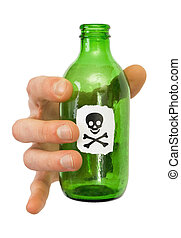 Male hand with green bottle pictured skull and crossbones