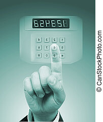 male hand with virtual safe code box