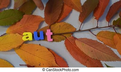 Male hand write with colorful letters on yellow leaves,...