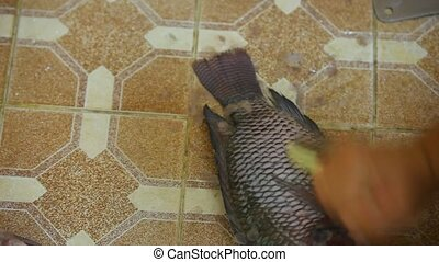 Male hands cleaning fish.