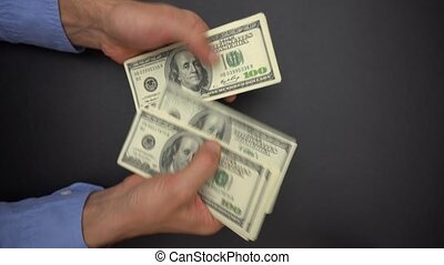 Male Hands Counting Cash Money, 100 Dollar Bills, Close Up
