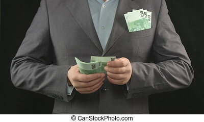 """""""Male hands counting euros. Money, wealth, investment, business"""""""