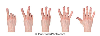 Male hands counting from one to five isolated on white background