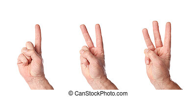 male hands counting to three