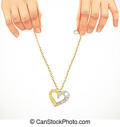 Male hands holding a gold chain
