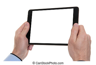 male hands holding a tablet touch computer gadget