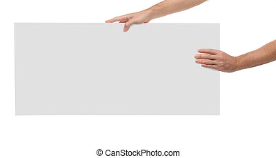 Male hands holding blank paper isolated on white