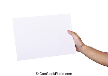 Male hands holding blank white paper sheet