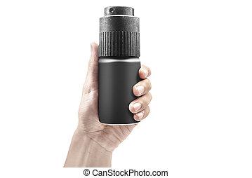 Male hands holding bottle of body spray