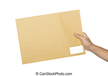 Male hands holding brown envelope