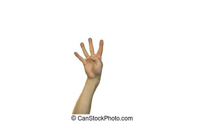 Male hands in counting to five on white background - Footage...