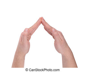 Male hands in the form of angle.