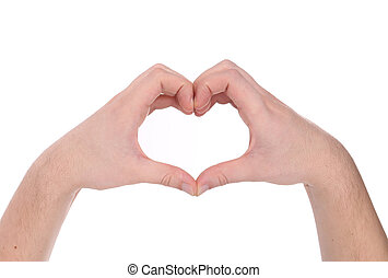 Male hands in the form of heart.