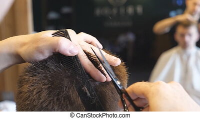 Male hands of hairdresser combing and cutting hair of...