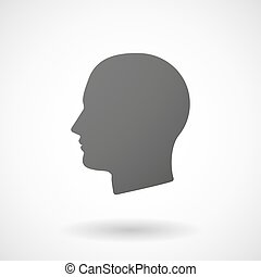 male head  icon on white background