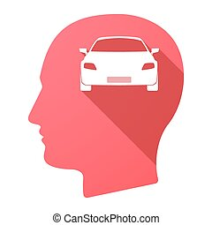 Male head icon with a car