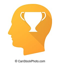 Male head icon with a cup
