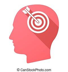 Male head icon with a dart board