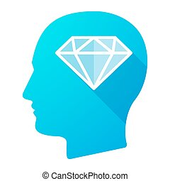 Male head icon with a diamond