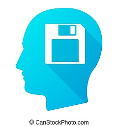 Male head icon with a floppy disk