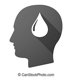Male head icon with a fuel drop
