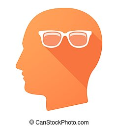 Male head icon with a glasses