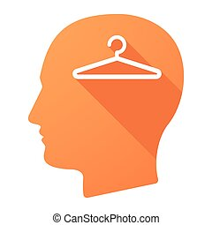 Male head icon with a hanger