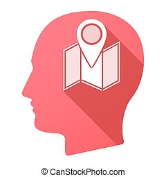Male head icon with a map