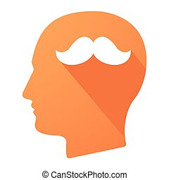 Male head icon with a moustache
