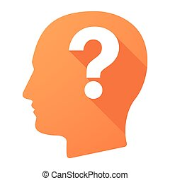 Male head icon with a question sign