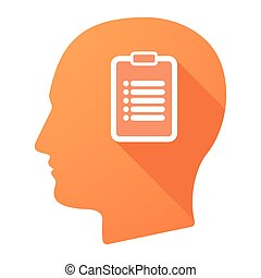Male head icon with a report