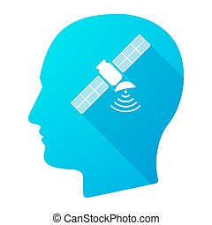 Male head icon with a satellite
