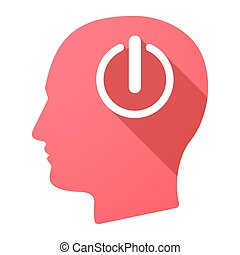 Male head icon with an off button