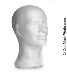 Male head of styrofoam on white background