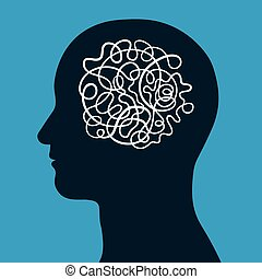 Male head with a convoluted entangled brain of a continuous intertwined cord depicting the complexity of human intelligence, thought and creativity, conceptual vector illustration
