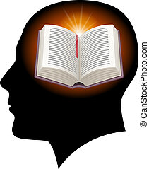 Male head with open book - Male head silhouette with open...