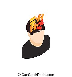 Male head with puzzle icon, isometric 3d style