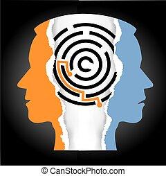 Male heads silhouette depression schizophrenia.