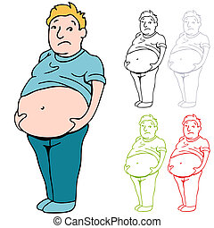 Male Heavy Belly - An image of a man holding his heavy belly...