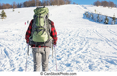 Male hiker on snow covered mountain
