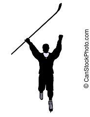 Male Hockey Illustration Silhouette - Male hockey art...