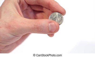 Male holding a Quarter Dollar - Male businessman, employer...