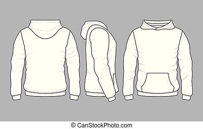 Male hoodie sweatshirt in front, back and side views. Vector...