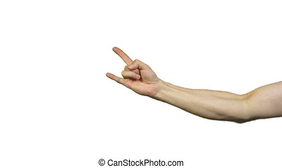 Male horns gesture on white background - Footage of male...