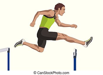 male hurdler jumping over hurdle isolated on a white background